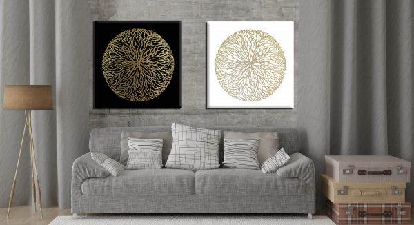 זוג תמונות אבסטרקט מנדלה שחור לבן זהב