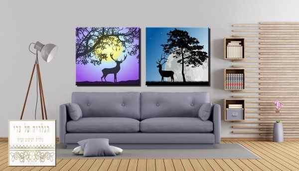 זוג תמונות איילים סגול כחול עצים שקיעה