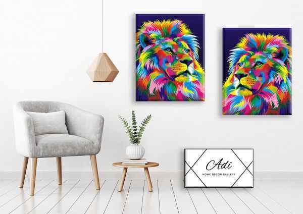 זוג תמונות של אריה בסגנון פופ ארט צבעוני