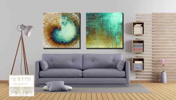 זוג תמונות אומנות טורכיז ירוק זהב