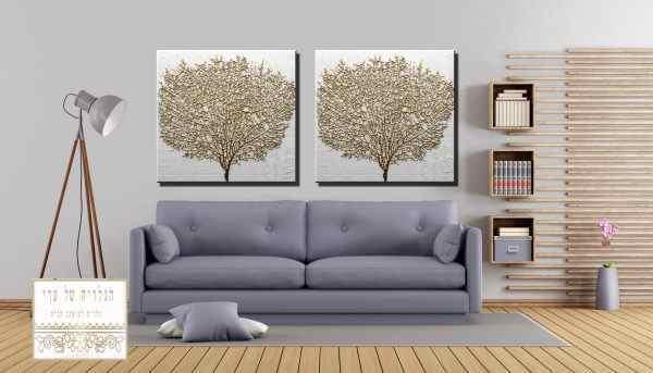 זוג תמונות עץ זהב רקע אפור בהיר
