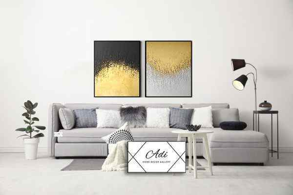 זוג תמונות של אבסטרקט שחור זהב לבן