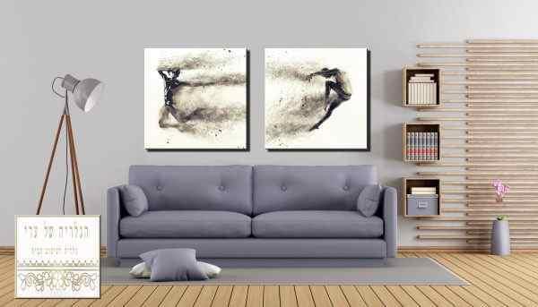 זוג תמונות אומנות רקע לבן דמויות