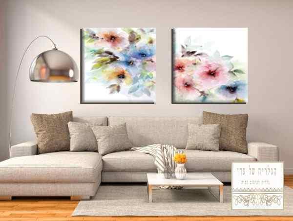 זוג תמונות פרחים צבעי מים צבעוני פסטל