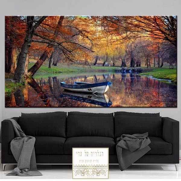 תמונה של נוף יער סירה מים נהר עצים