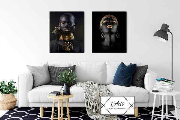 זוג תמונות של אפריקאיות שחור וזהב