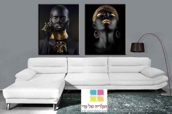 זוג תמונות של נשים אפריקאיות שחור זהב עגיל שרשרת