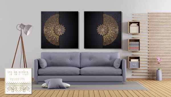 זוג תמונות רקע שחור אומנות מנדלה