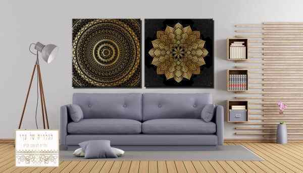זוג תמונות אבסטרקט מנדלה אומנות זהב רקע כהה שחור