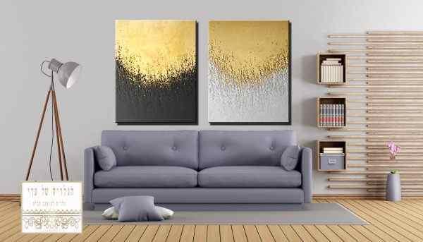 זוג תמונות מרשימות מריחות צבע זהב אפור כהה אפור בהיר