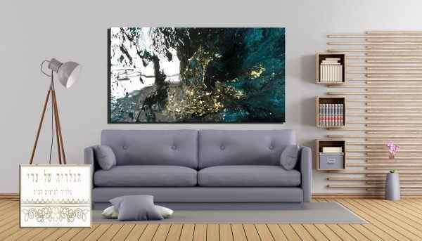 תמונה של אבסטרקט ירוק שחור זהב מרשימה יוקרתית
