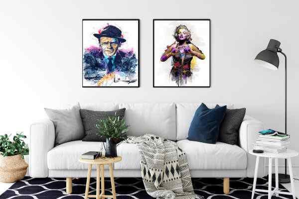 זוג תמונות של פופ ארט מרלין מונרו ופרנק סינטרה