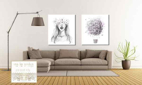 זוג תמונות כדור פורח ואישה עם זר פרחים על הרש רקע לבן צבעי עפרון ארט ליין