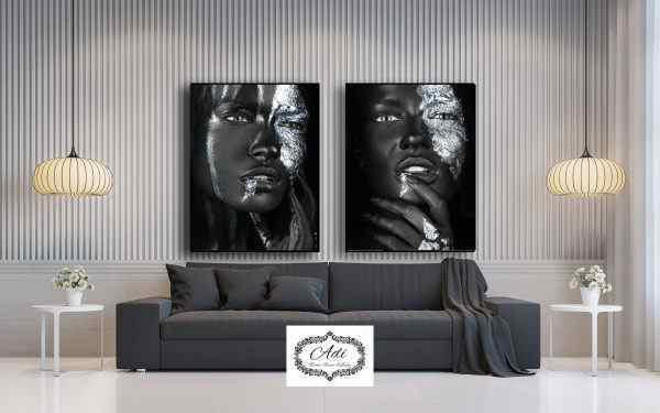 זוג תמונות אפריקאיות שחור וכסוף