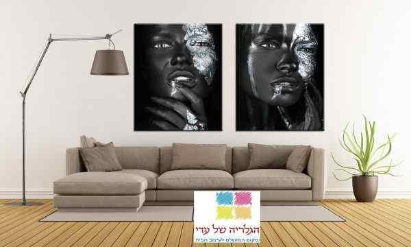זוג תמונות נשים כסף ושחור פנים