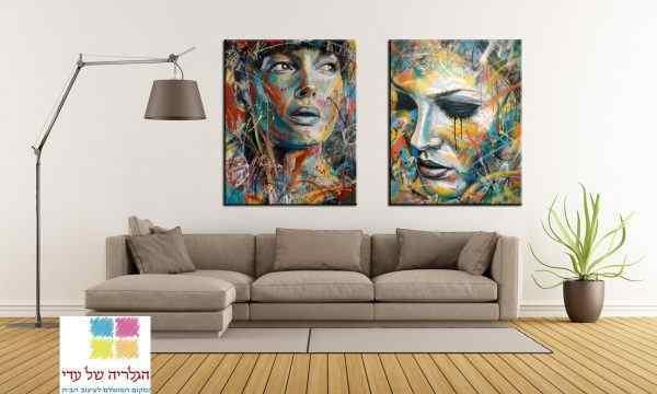 זוג תמונות נשים בסגנון אקריליק צבעוניות מעוצבות