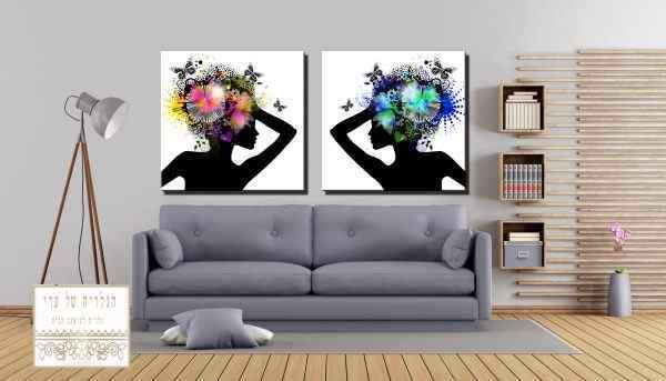 זוג תמונות נשים פרחים ופרפרים על הראש פרופיל צד