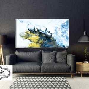 אבסטרקט מודרני- כחול צהוב לבן
