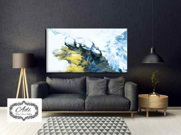 תמונה אבסטרקט צהוב חרדל טורכיז כחול