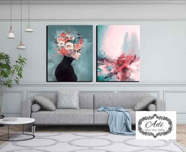 זוג תמונות אישה ופרח טורכיז ורוד אישה עם פרחים על הראש