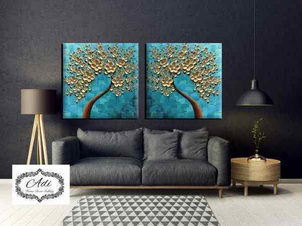 זוג תמונות עצים זהב רקע טורכיז אומנותי
