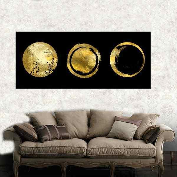 תמונה של עיגולים זהב ירח שמשות רקע שחור
