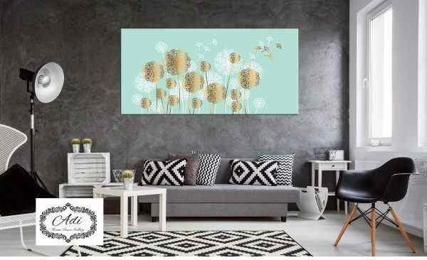 תמונה של פרחים זהב טורכיז לבן