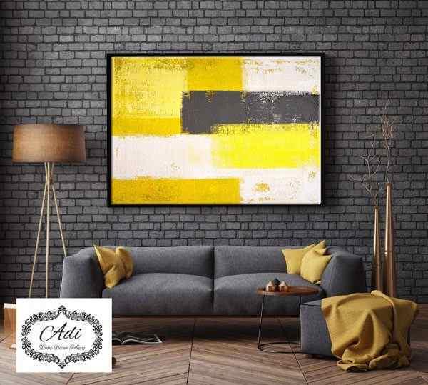 תמונת אבסטרקט מריחות צבע צהוב אפור לבן