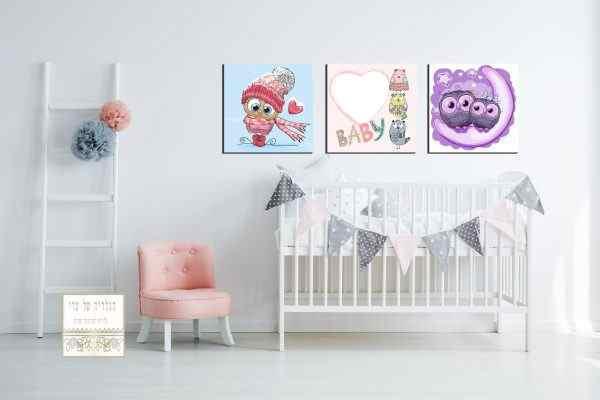 שלישיית תמונות ילדים ציפורים צבעוני תינוק ורוד