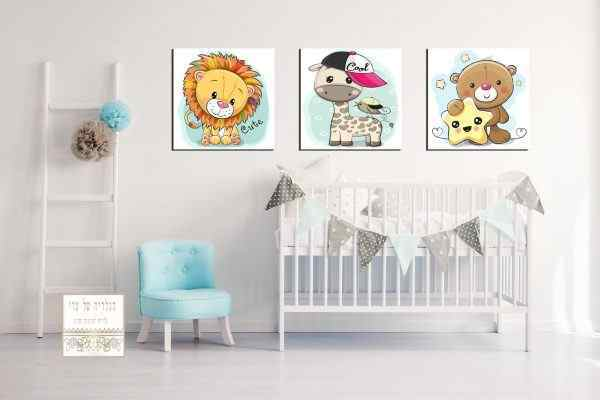 שלישיית תמונות חיות לחדר ילדים אריה גירפה דובי כוכב