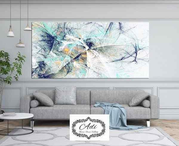 תמונת אבסטרקט מרהיבה אומנותית טורכיז כחול חרדל זהב