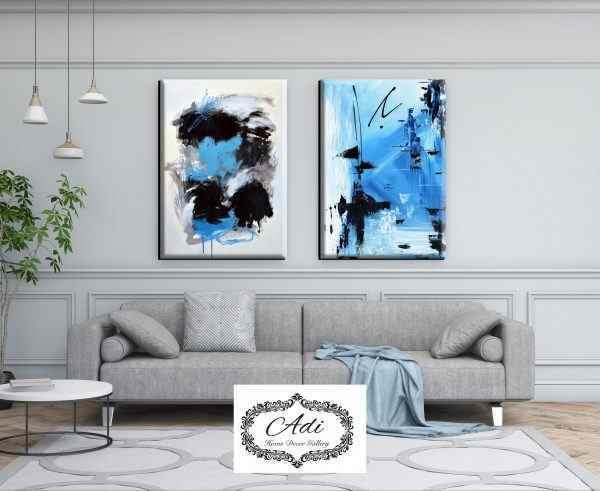 זוג תמונות אבסטרקט גווני כחול תכלת שחור אפור