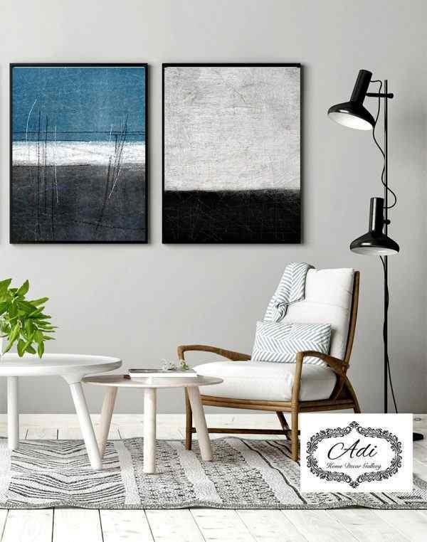 זוג תמונות מרשימות אומנותיות כחול אפור שחור צבעי גיר