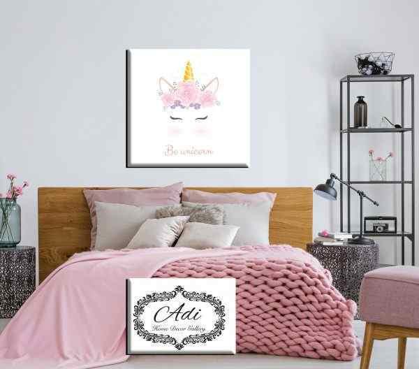 תמונה של חד קרן מעוצב לילדות רקע לבן גווני ורוד
