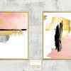 זוג תמונות מרשימות אבסטרקט משיכות צבע ורוד זהב צהוב אפור שחור