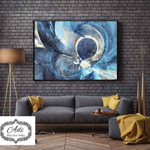 תמונת אבסטרקט עיגול טורכיז כחול ואפור