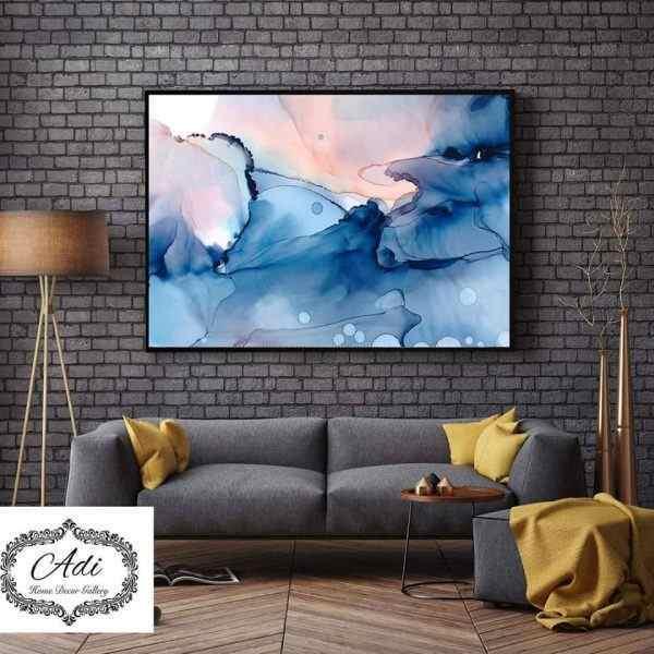 תמונת אבטרקט צבעי מים טורכיז ורוד