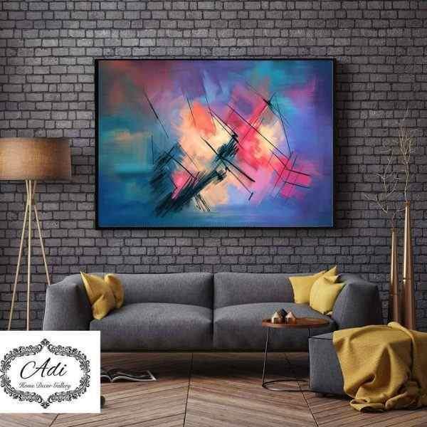תמונת אבסטרקט אומנותית מריחות צבע צבעונית