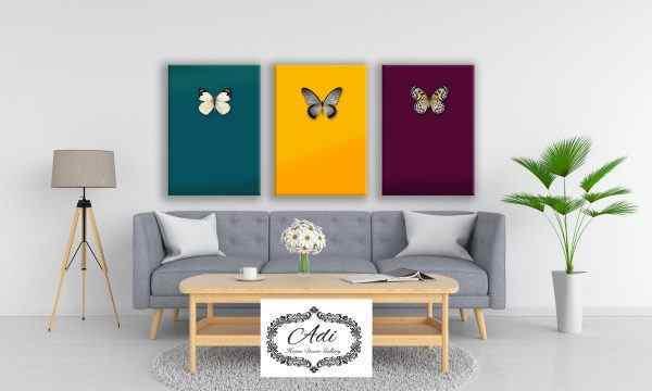 שלישיית תמונות צבעוניות פרפרים בורדו חרדל טורכיז