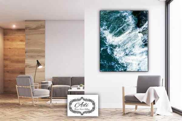 תמונה של אבסטרקט גלים כחול לבן