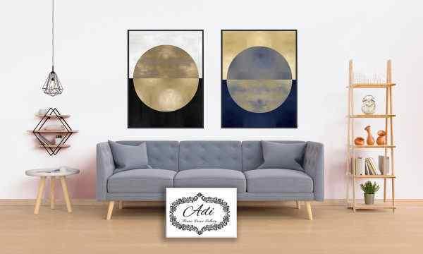 תמונה של אבסטרקט עם זהב שחור לבן כחול
