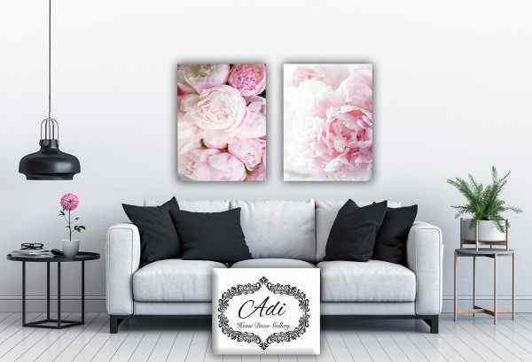 זוג תמונות פרחים ורוד
