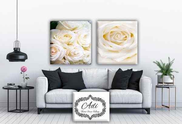 זוג תמונות פרחים לבנים
