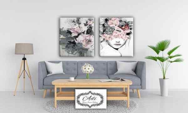 אישה עם פרחים ורודים זוג