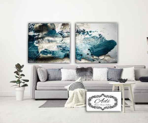 תמונה של אבסטרקט כחול אפור מחולקת