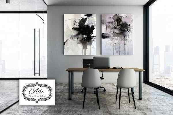 זוג תמונת אבסטרקט בצבע סגול אפור