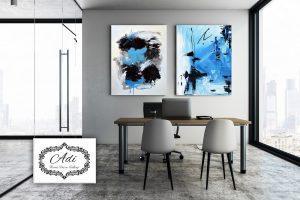 זוג תמונת אבסטרקט בצבע כחול שחור
