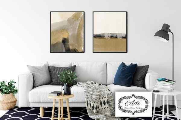 זוג תמונות אבסטרקט זהב שחור לבן