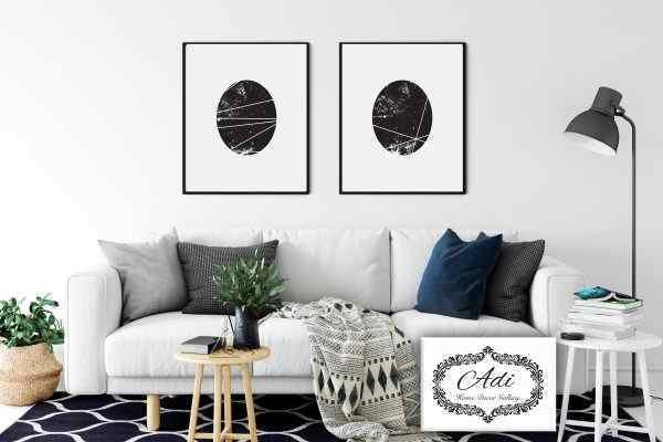 זוג תמונות אבסטרקט בגווני שחור לבן