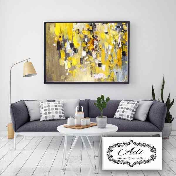 תמונת אבסטרקט בצבע צהוב אפור חום